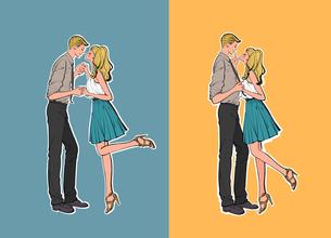 手を取り合ってキスをしようとしているカップルのイラスト素材 [FYI01640460]