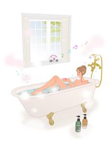 お風呂に入り音楽を聴きながら花の香りを楽しむ女性のイラスト素材 [FYI01640506]