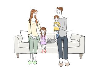 ソファに座る家族のイラスト素材 [FYI01640532]