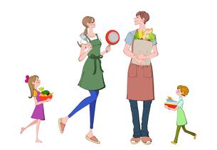 料理の準備をする家族のイラスト素材 [FYI01640562]