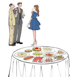 立食パーティでワインを飲み話すドレスの女性とスーツの男性のイラスト素材 [FYI01640583]