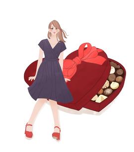 チョコレートの入ったプレゼントの箱に座る女の子のイラスト素材 [FYI01640592]