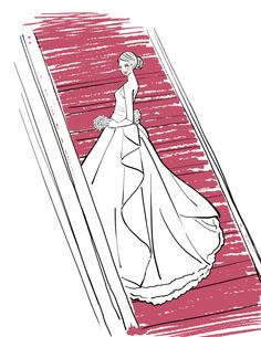 ウェディングドレスを着て階段に立つ女性のイラスト素材 [FYI01640596]