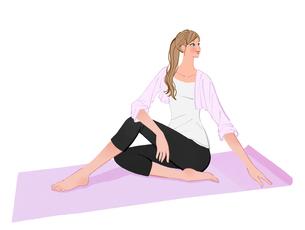 ヨガマットに座りねじりのポーズのストレッチをする女性のイラスト素材 [FYI01640598]