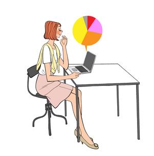 ノートパソコンでグラフデータを確認する女性社員のイラスト素材 [FYI01640627]