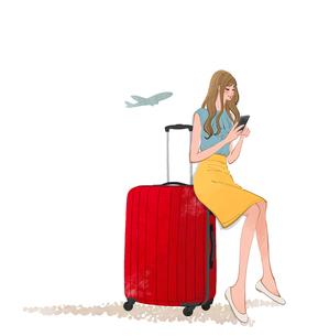 スーツケースに座りスマホを見る旅行に出かける女性のイラスト素材 [FYI01640674]