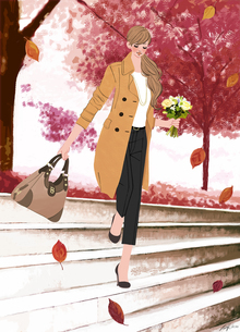 コートを着て花束を持ち階段を下りる女性のイラスト素材 [FYI01640704]