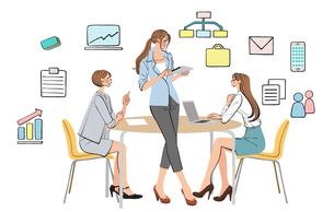 オフィスで仕事の打ち合わせをする女性たちのイラスト素材 [FYI01640717]