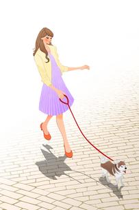 犬の散歩をする女性のイラスト素材 [FYI01640742]