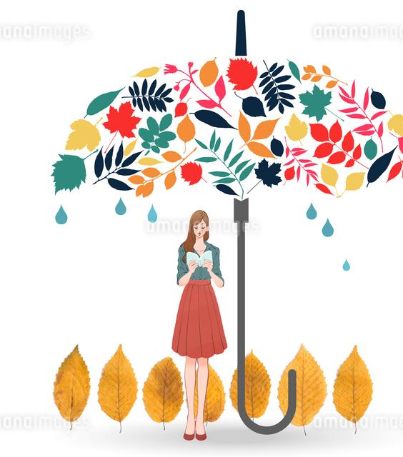 秋の長雨に読書を楽しむ女性のイラスト素材 [FYI01640747]