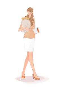 買い物袋にバゲットを入れ本を持って歩く女の子のイラスト素材 [FYI01640791]