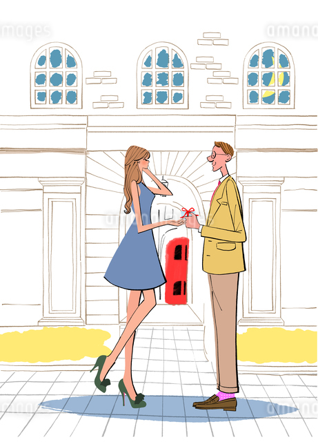 レストランの建物の前でプレゼントを渡す男性とワンピースの女性のイラスト素材 [FYI01640794]