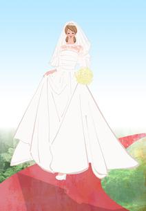 ウェディングドレスを着てバージンロードを歩く女性のイラスト素材 [FYI01640818]