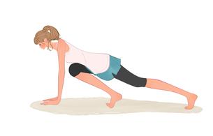 腕立て伏せの姿勢で片脚をひきつける運動をする女の子のイラスト素材 [FYI01640859]