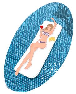 プールで寝そべりドリンクを飲むビキニの女の子のイラスト素材 [FYI01640866]