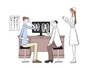 診察を受ける患者と医者と看護師のイラスト素材 [FYI01640879]