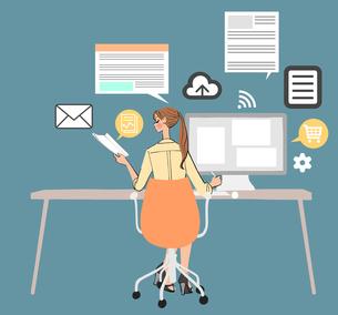 オフィスでデスクに座りパソコンを使って仕事をする女性のイラスト素材 [FYI01640909]