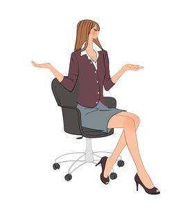 椅子に座り手を広げて途方に暮れる女性のイラスト素材 [FYI01641080]