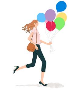 風船を持って走る女性のイラスト素材 [FYI01641209]