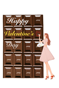 バレンタインのチョコレートに文字を書く女の子のイラスト素材 [FYI01641350]