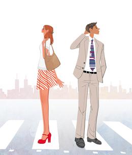 街の横断歩道の上で喧嘩するカップルのイラスト素材 [FYI01641525]