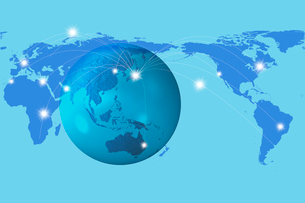 地球儀とネットワークの写真素材 [FYI01642054]
