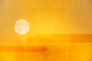 金屏風と月のイラスト素材 [FYI01642746]