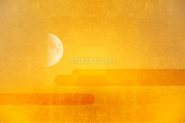 金屏風と月のイラスト素材 [FYI01643145]