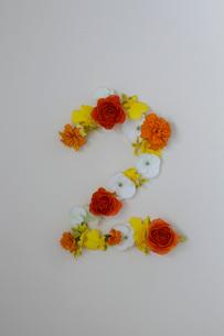 花の数字、2(生花)の写真素材 [FYI01643395]