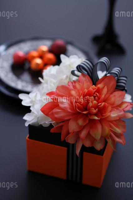 オレンジのダリアと白い蘭と紫陽花のボックスアレンジの写真素材 [FYI01643422]
