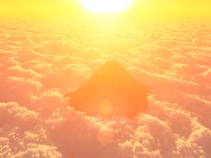 CGの雲海と山と朝日のイラスト素材 [FYI01643535]