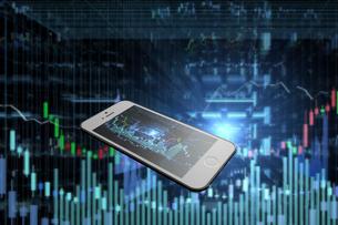 スマートフォンと株価のグラフのイラスト素材 [FYI01645012]