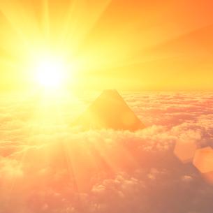 CGの雲海と山と朝日のイラスト素材 [FYI01645068]