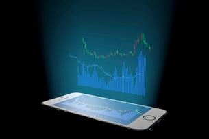 スマートフォンと株価のグラフのイラスト素材 [FYI01645198]