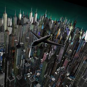 未来都市と飛行機のイラスト素材 [FYI01645440]