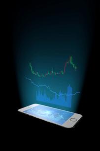 スマートフォンと株価のグラフのイラスト素材 [FYI01645536]