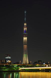 東京スカイツリーライトアップ(東京オリンピック招致)の写真素材 [FYI01646188]