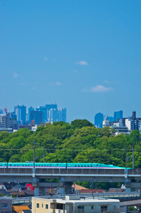 新宿・池袋をバックに東京を走る東北新幹線E5系はやぶさの写真素材 [FYI01646303]