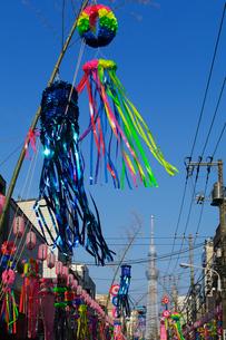 下町七夕まつりと東京スカイツリーの写真素材 [FYI01646312]