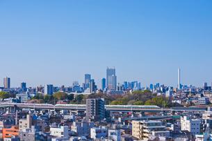 東京を走る東北新幹線E2系と山形新幹線E3系と池袋と新宿高層ビルの写真素材 [FYI01646336]