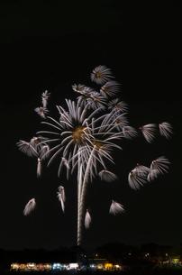 土浦全国花火競技大会の創造花火で昇天銀龍万華鏡写輪丸の写真素材 [FYI01646392]