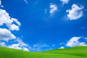 緑の草原と青空に雲の写真素材 [FYI01647432]