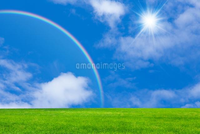 草原と青空に虹の写真素材 [FYI01647849]