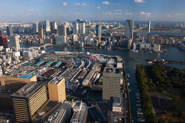 築地市場の俯瞰遠景の写真素材 [FYI01648961]