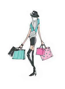 ショッピングバックを持つ若い女性のイラスト素材 [FYI01650312]