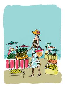 南国ビーチの果物市場(背景色あり)のイラスト素材 [FYI01650315]