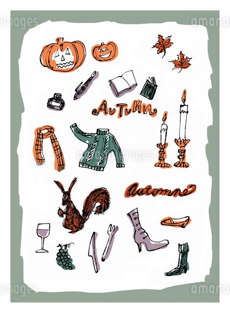 秋のモチーフとイメージのイラスト素材 [FYI01650317]