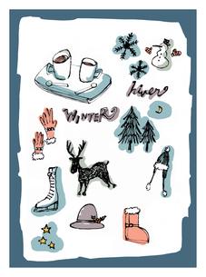 冬のモチーフとイメージのイラスト素材 [FYI01650318]