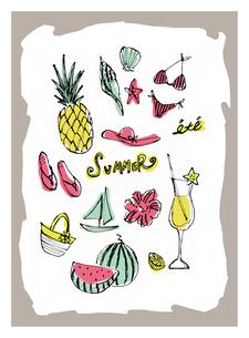 夏のモチーフとイメージのイラスト素材 [FYI01650322]