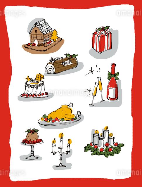 クリスマスの食とテーブル小物イメージのイラスト素材 [FYI01650336]